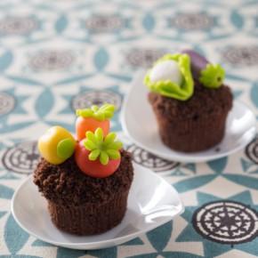 Muffin con decorazioni in pasta di zucchero